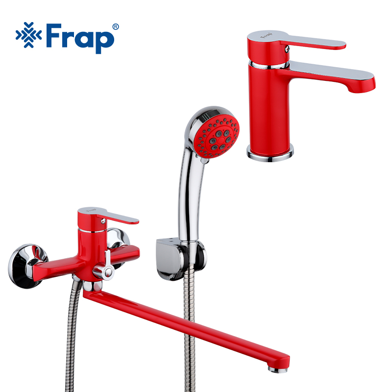Frap 1 Set 340mm Outlet Pipe Red Spray Painting Bathroom Bathtub Shower Faucet With Basin Tap