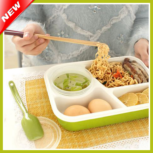 4 compartments bento lunch box set for kids multifunctional food box for lady. Black Bedroom Furniture Sets. Home Design Ideas