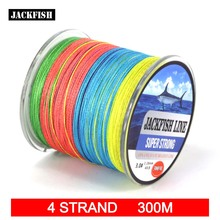 JACKFISH 300M 4 strand Mix Color PE Braided Fishing Line10-80LB 10M/color Multifilament Fishing Line Super Strong line with gift
