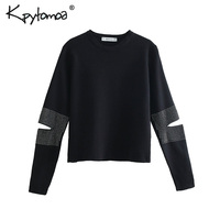 Vintage Stylish Rivets Short Sweater Women 2019 Fashion O Neck Long Sleeve Hollow Out Streetwear Pullovers Casual Pull Femme