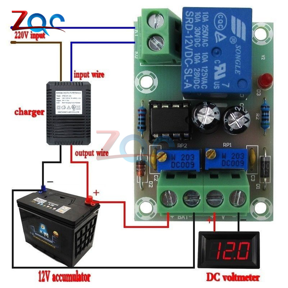Xh M601 Battery Charging Control Board 12v Intelligent Charger Power Pcb Circuit Mounting Bracket For Din C45 Rail Simple Supply Module Panel Automatic Stop