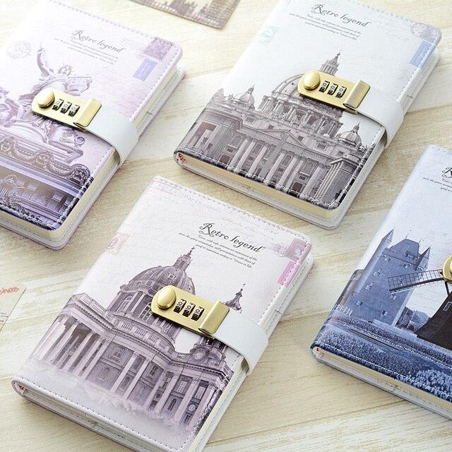 Nowy osobisty pamiętnik notatnik z kodem blokady biznes A5 gruby notatnik codzienne notatki biuro szkolne prezent