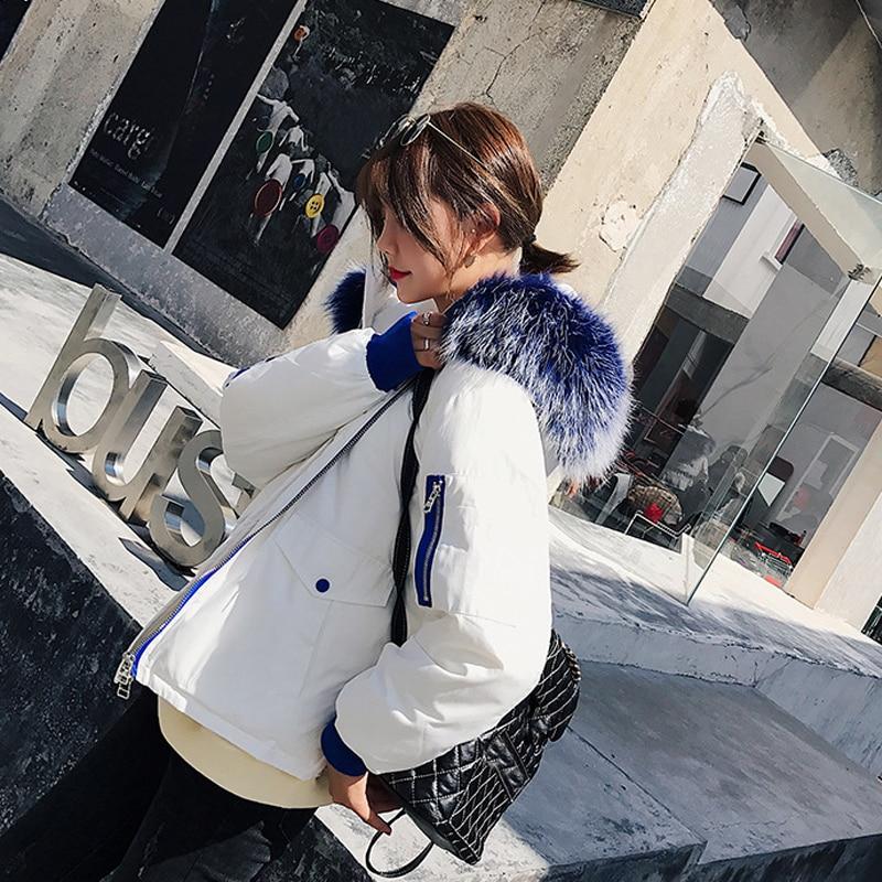 Big D'hiver Chaud Real Manteau Parkas Femelle Canard Duvet De Raton Manteaux 2018 Femmes Vestes En Laveur Épais Blanc Fourrure Veste blanc Noir xBdCreo