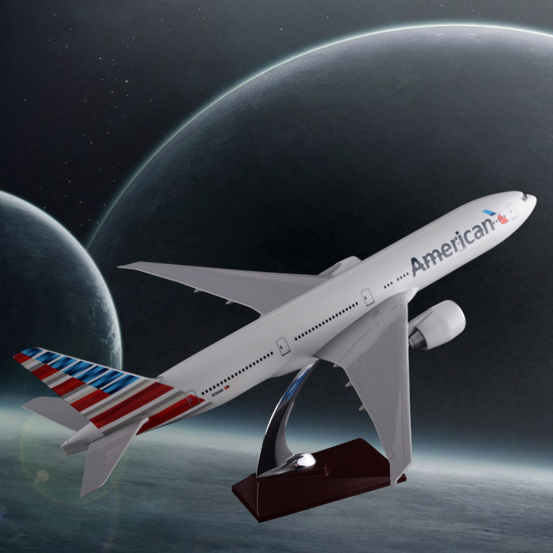 47cm Resin Boeing 777 American Airlines Airplane Model United States Airways B777 Airbus Model Aero Travel Gift Aircraft Model 1 400 jinair 777 200er hogan korea kim aircraft model