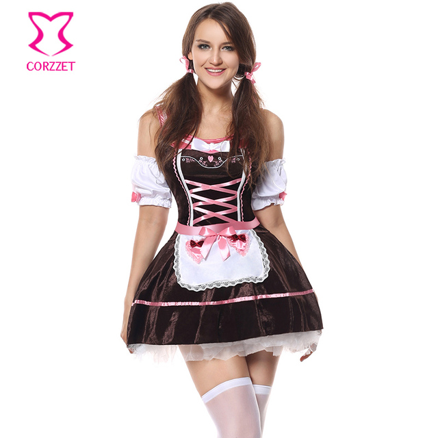 US  19.48 42% OFF Hot Sale Brown Sexy Costumes Women Halloween Lolita Fancy  German Dirndl Dress Oktoberfest Beer Festival Cosplay Maid Costume-in ... 530622eb35