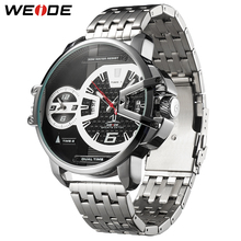 WEIDE Military Watches Relogio Masculino Men Quartz Analog Display Stainless Steel Strap Watch Big Black Dial Automatic Clock