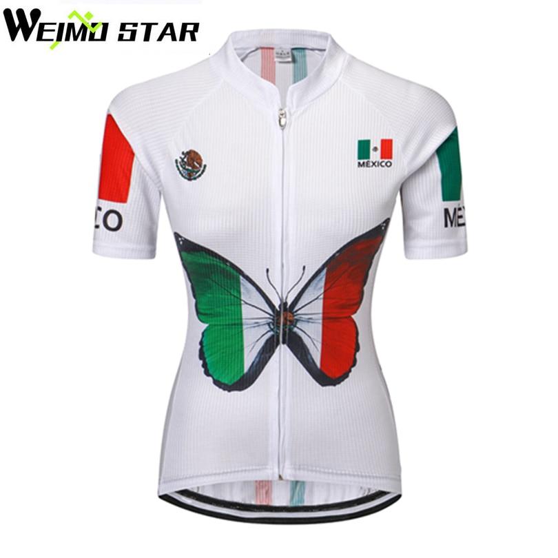 WEIMOSTAR Mexikó Nők Kerékpáros dzsörzé Bike Rövid ujjú Verseny Bike Jersey Pólók Ropa Ciclismo Kerékpáros ruházat Maillot Felsők