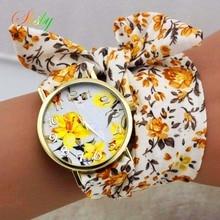 shsby design Ladies flower cloth wrist watch gold fashion wo