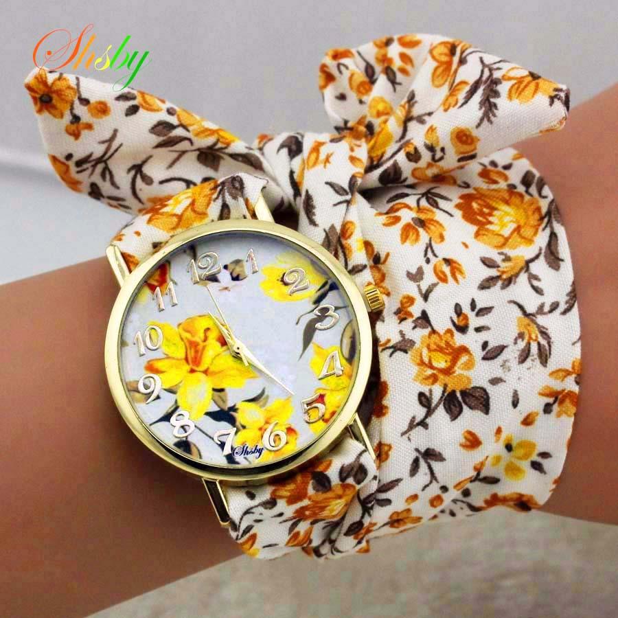 Shsby Design Ladies Flower Cloth Wrist Watch Gold Fashion Women Dress Watches High Quality Fabric Clock Sweet Girls Watch