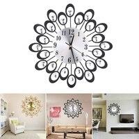 Large Fashion Creative 3D Electronic Wall Clock Iron Art Diamante Black /Gold B1