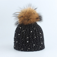 Real Fur Big Ball Skullies Beanies Hats For Women Female  Winter Hats Pompoms Knitted Warm Caps Men Casual Warm Hat Gorros