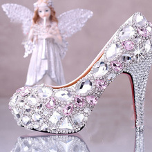 Pink Silver Wedding Bridal Dress Shoes Sparkling Stiletto Ultra High Heels Rhinestone Pump Wedding Party Prom Formal Dress Shoe