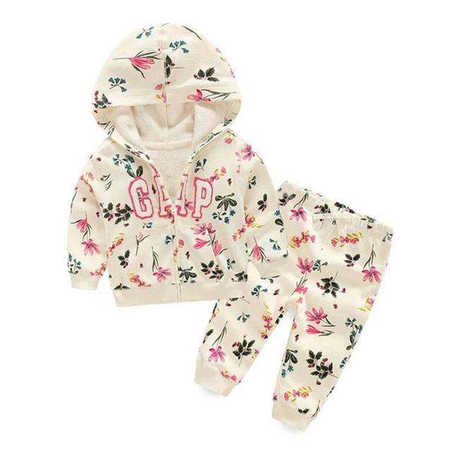 Fashion 2017 autumn Children girl Outfits Tracksuit  Clothing Children Hoodies + Kids Pants Sport Suit s girls Clothing Sets