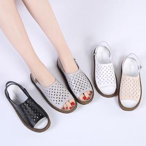 Image 3 - Dobeyping sandalias para mujer planas de piel auténtica, zapatos de verano, calzado de playa, talla grande 35 44