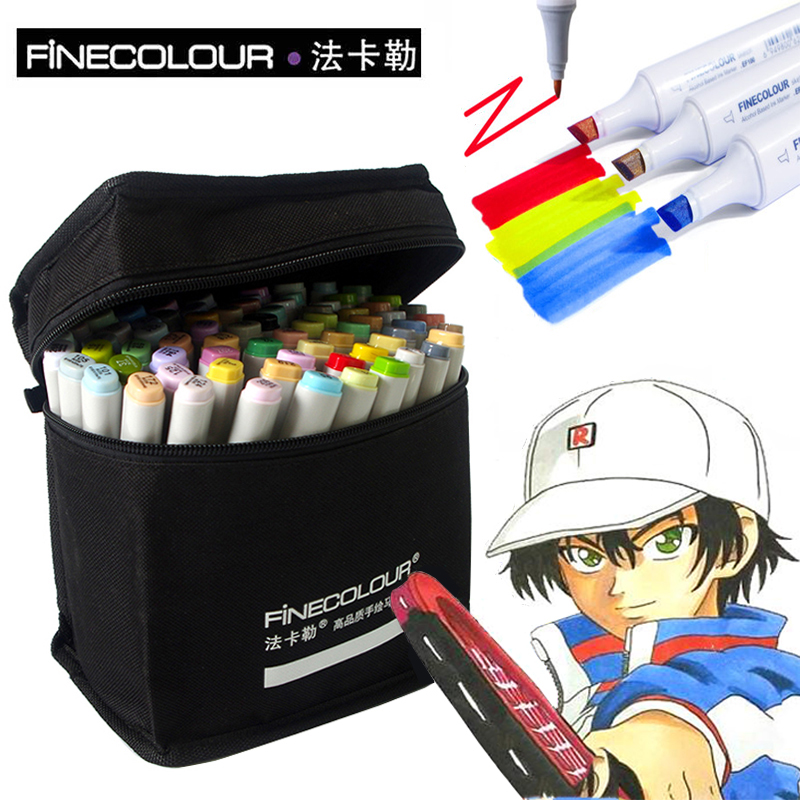 FINECOLOUR 36/48/60/72 Colors Sketch Marker Art Marker Dual Headed Alcohol Manga Drawing Art Markers Set Graffiti Pen For School