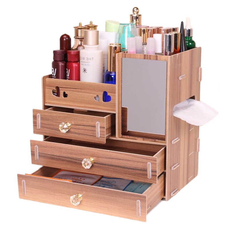 Hoomall Jewelry Container Wood Drawer Organizer Handmade Cosmetic Storage Organizer Box DIY Wooden Storage Box Makeup Organizer
