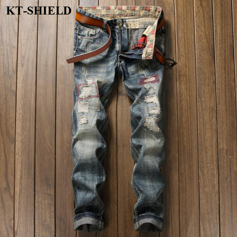 New Autumn Brand Mens Jeans ripped Fashion Denim Distressed Biker Jeans Pans Straight Slim Long Trousers Male Elastic Jeans
