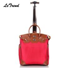 Letrend New Fashion Korean Oxford Men Travel Bag on Wheel Suitcases Women Red vintage Cabin Rolling Luggage Trolley Handbag