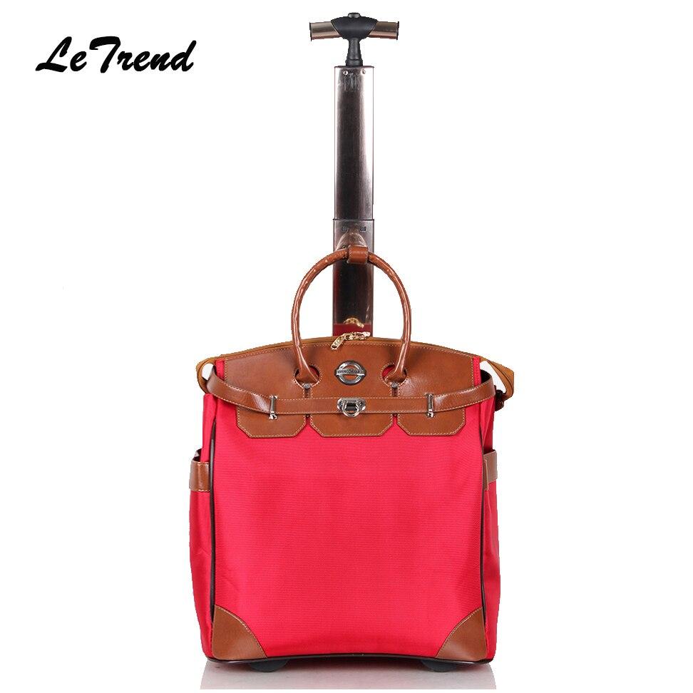 Letrend nouvelle mode coréen Oxford hommes voyage sac sur roues valises femmes rouge vintage cabine roulant bagages Trolley sac à main