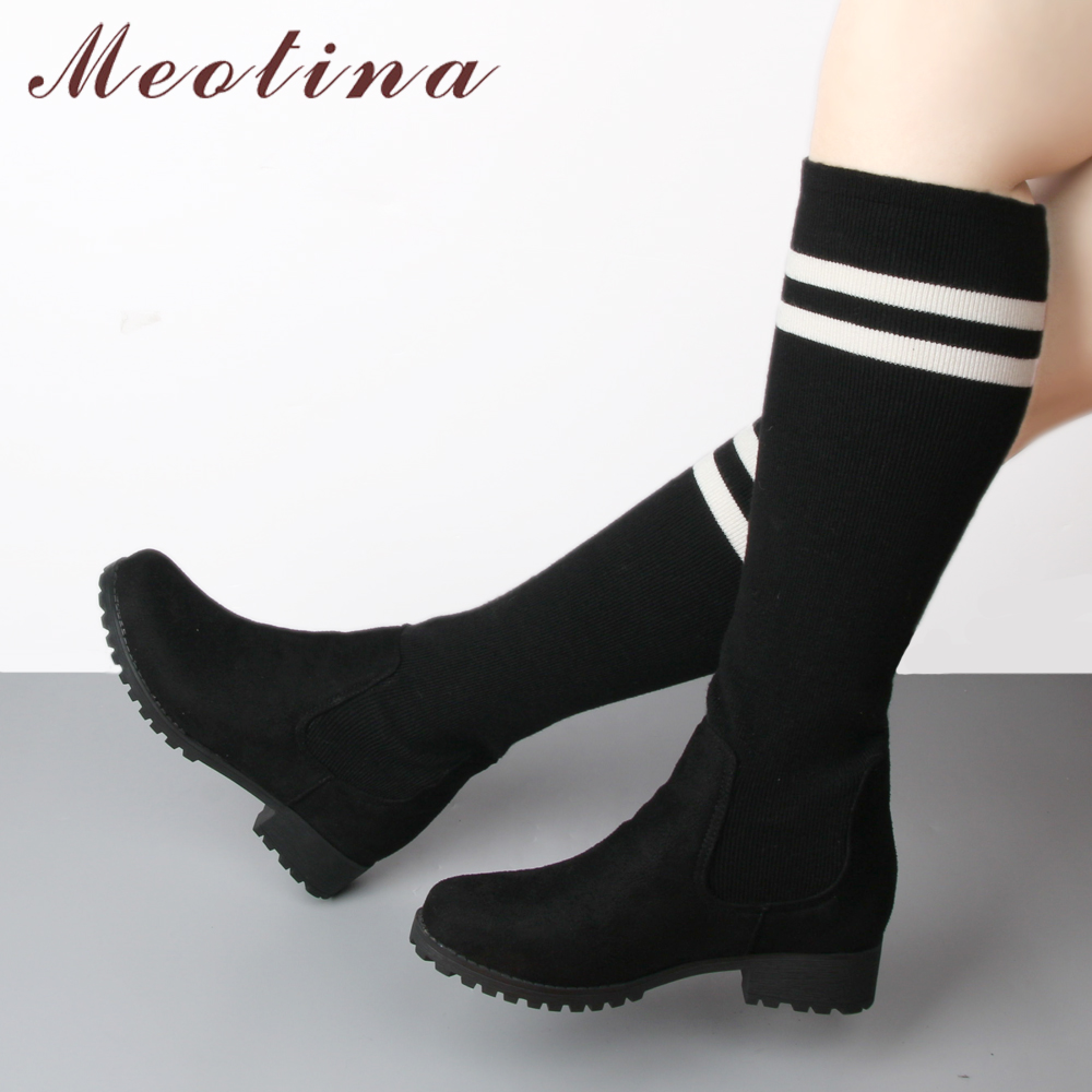 6d819b1d04c84 Meotina Winter Knee High Boots Women White Stripe Sock Boots Platform Tall  Boots Fashion Ladies Shoes Black Blue Size 42 43