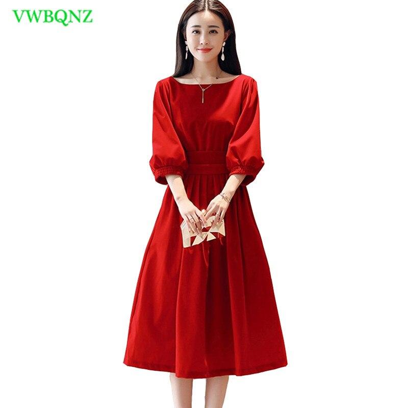 Rouge 108 Printemps Longues blue Grand Pendule De Tempérament Haute Red Femmes Manches Robe Taille Lanterne Robes Mince Mode Nouvelle 1cJTF3lK