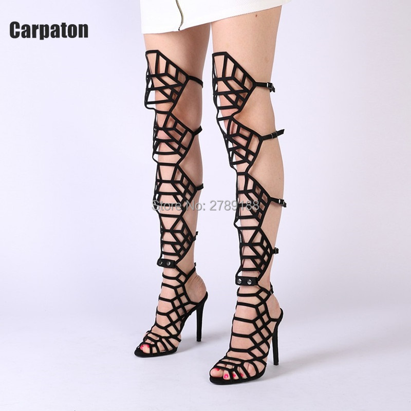 women summer sandals Hollow high heels Black sexy knee high boots fashion cage open toe Gladiator sandal women high heel boots 2017 new european and american romantic pop black magazine cool shoes sexy fashion hollow women boots fashion summer boots
