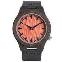 Fashion Men Black Genuine Leather Band Nature Wood Modern Quartz Wrist Watch Simple Brown Dial Male