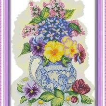 Три цветная ваза крестиком набор цветок 14ct 11ct печатная ткань сшитая ткань вышивка DIY рукоделие ручной работы