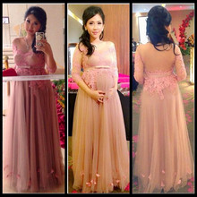 New Women Evening Dresses Long Party Gown Maternity Pink Appliques Lace Prom Dress