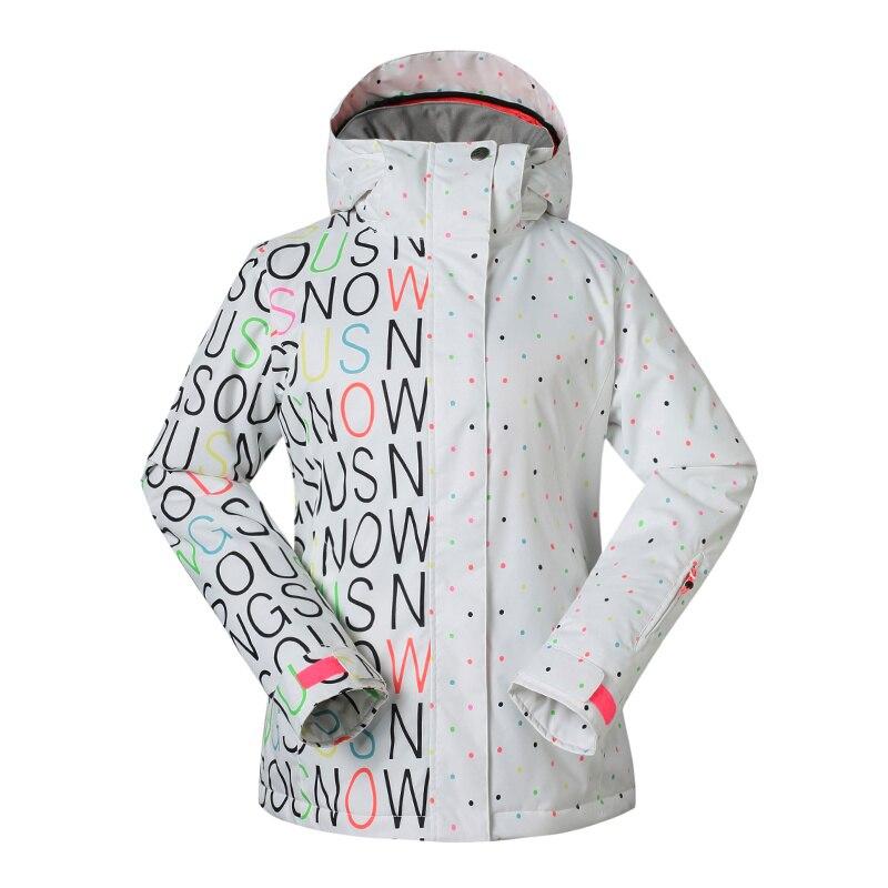 Prix pour GS Femmes ski Vestes d'hiver En Plein Air Chaud Snowboard Veste manteau femelle étanche respirant lettres impression neige veste
