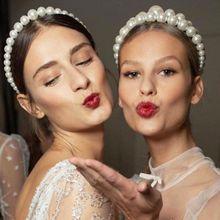 European Retro Glitter Imitation Pearl Beading Headband Women Bridal Wedding Party Hair Hoop Big Small Jewelry Styling Headpiece