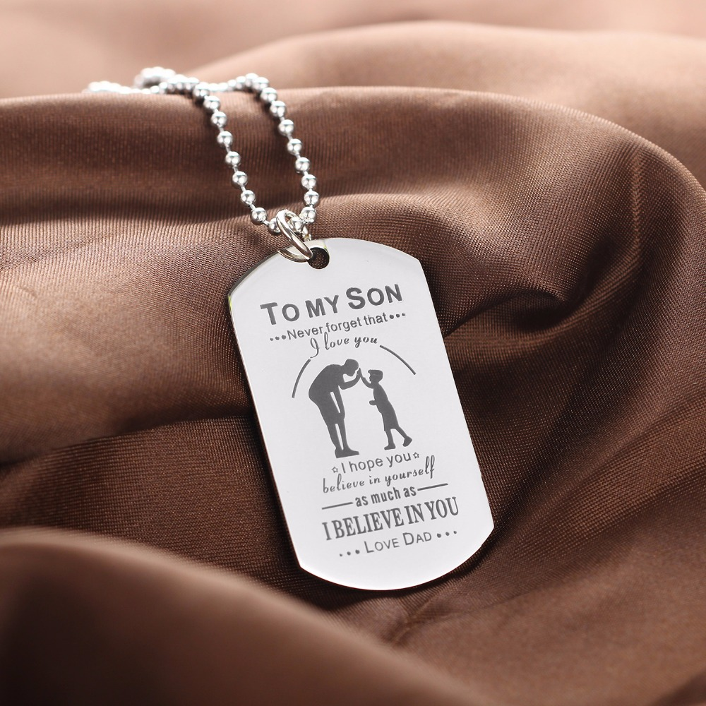 Bespmosp dad daddy son love believe in yourself family dog tag bespmosp dad daddy son love believe in yourself family dog tag pendant necklace stainless steel charm chain jewelry fathers day in pendant necklaces from solutioingenieria Image collections
