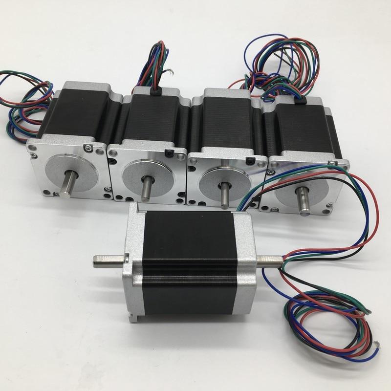 5pcs Nema23 Dual Shaft Stepper Motor 57*76mm 3A 1.8Nm 260Oz-in 2ph 4 Wires High Torque for CNC Router Lathe5pcs Nema23 Dual Shaft Stepper Motor 57*76mm 3A 1.8Nm 260Oz-in 2ph 4 Wires High Torque for CNC Router Lathe