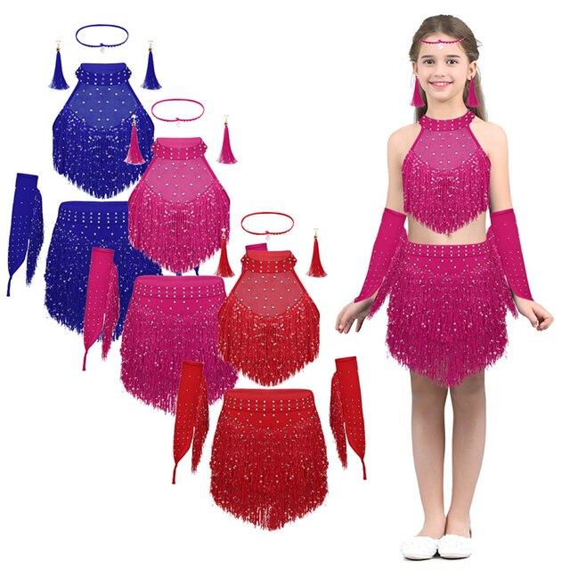Kids Teens Shiny Sequins Tassel Latin Dance Dress Set Girls Rumba Samba Salsa Ballroom Stage Performance Lyrical Dance Costumes 1