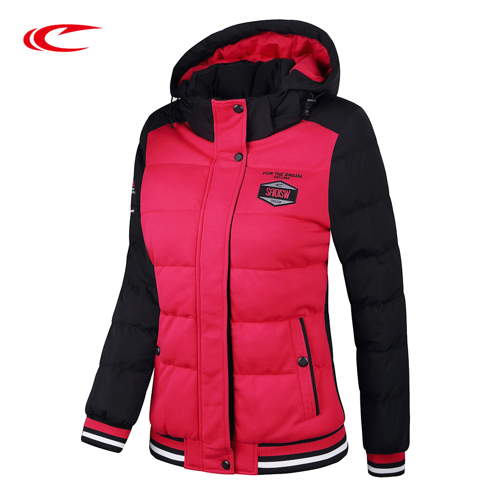 SAIQI New Women Autumn Winter Jacket Female Hooded Sport Thick Warm Coat Cotton Padded Patchwork Fit Walking Trainning 246820 high quality new winter jacket parka women winter coat women warm outwear thick cotton padded short jackets coat plus size 5l41