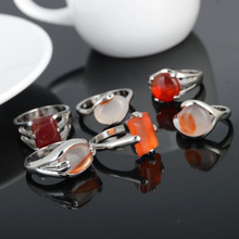 Mix Wholesale 5Pcs/lot Natural Stone Silver Rings for Men Women Plated Geometric Big Wedding Finger Ring Jewelry