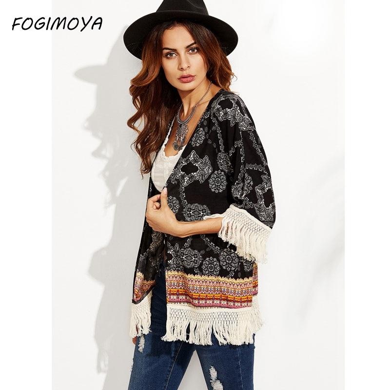 FOGIMOYA Kimono Women Beach Cover Up Cardigan Shawl Chiffon Printed Boho Shawl Ladies Tops Cover Up Tassel Blouses Outwear Top