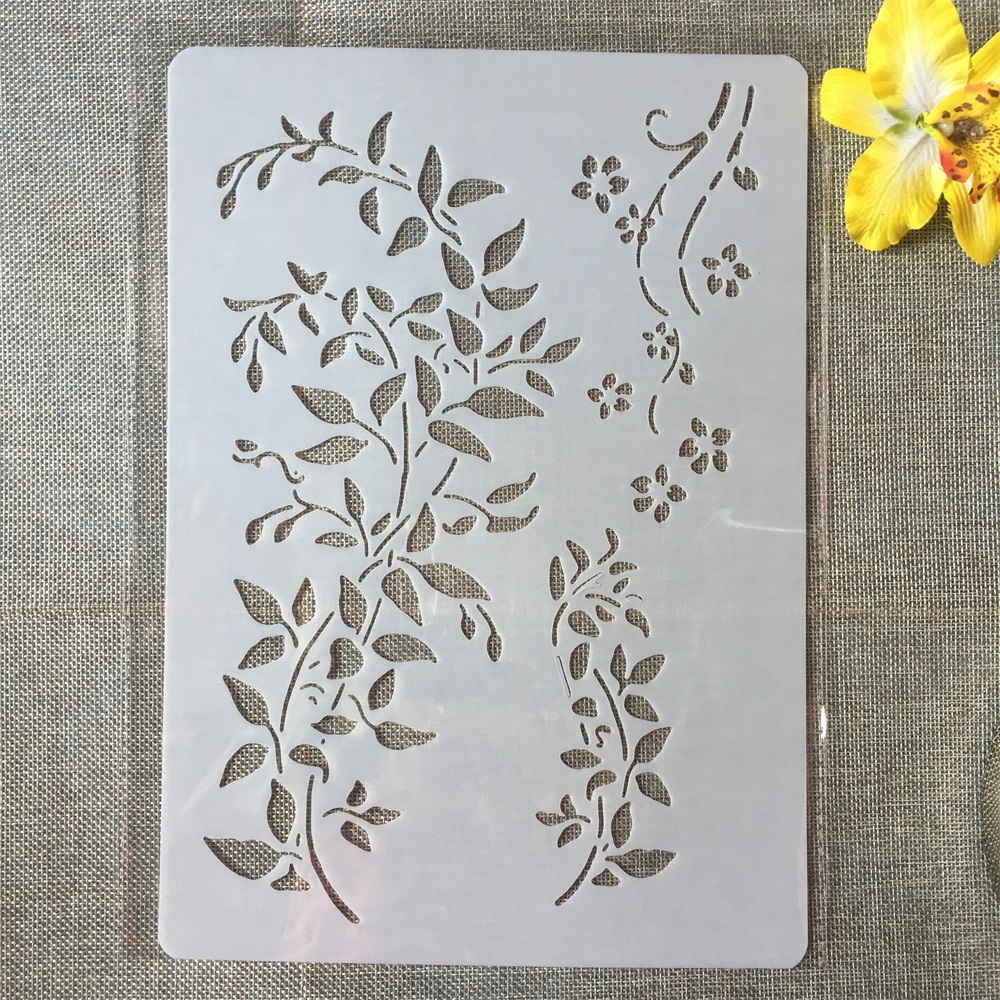 1Pcs A4 Long Branch DIY Craft Layering Stencils Painting Scrapbooking Stamping Embossing Album Paper Card Template