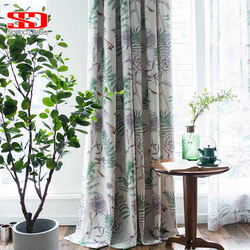 Modern Printing Cotton Floral Curtains For Living Room Country