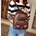2017 Vintage Cute Cartoon Cat Backpacks Women's Preppy Style Double Shoulder PU School Bags