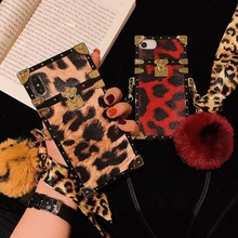 Fur ball Square Case For iphone X XS Max 7 Plus Shockproof neck strap Phone Case For iphone 8 6 6S Plus Leopard Print back cover