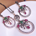 Round Design Sculpture Craft Jewelry Sets Necklace & Earrings Vintage Turkish Jewelry Crystal Anti Gold Women Ethnic Dress Sets