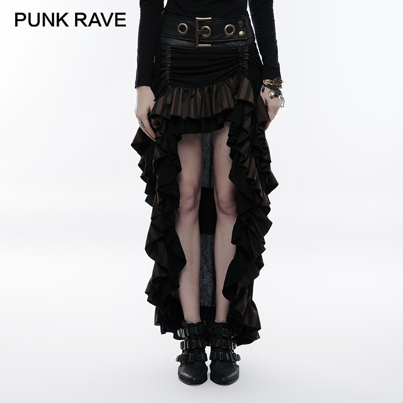 PUNK RAVE Steampunk Multi Layered Latest Women Party Skirt Cotton Linen Woven Adjustable Hem Oversized Belt
