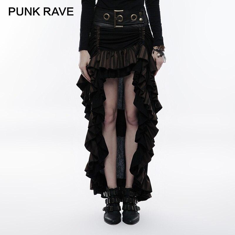 Kadın Giyim'ten Etekler'de PUNK RAVE Steampunk Çok Katmanlı Son Kadınlar Parti Etek Pamuk Keten Dokuma Ayarlanabilir Hem Boy Kemer Tokası Metal Fermuar'da  Grup 1