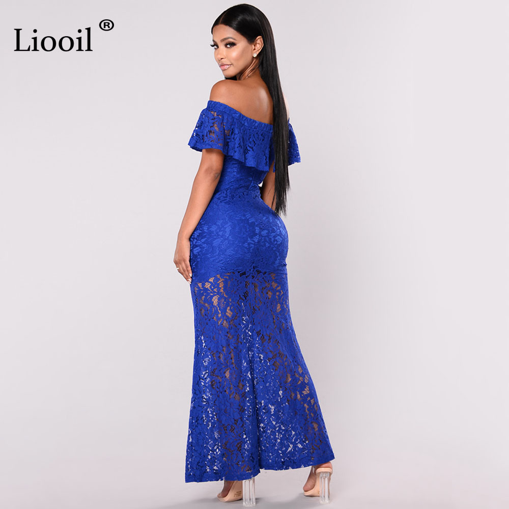 Liooil Royal Blue Lace Long Dress Ruffles Off Shoulder Backless Bodycon  Maxi Dress Sexy See Through Women Elegant Party Desses-in Dresses from  Women's ...