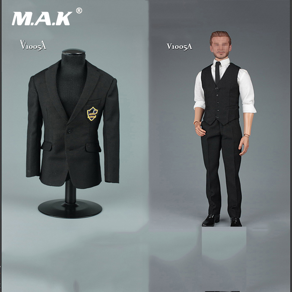 1/6 Scale Clothes Black Men Gentleman Suit 2.0 for 12 Male   Action Figure vortoys v1005 1 6 the british gentleman suit 2 0 in a black b gray c stripe for 12 beckham collectible action figure diy