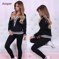 1 Set Strip Trim Women's Tracksuit Lady Casual Loungewear for Women Pull Over Tops and Pants Deep V Neck XS-L