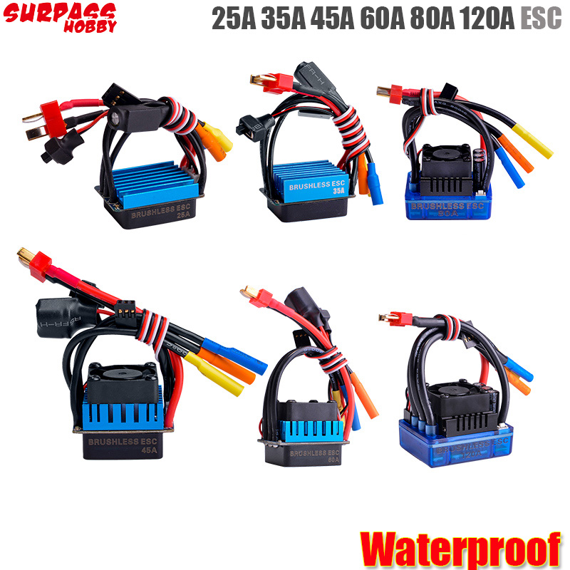 Waterproof 25A 35A 45A 60A 80A 120A ESC  Brushless Senseless Speed Controller For 1/8 1/10 1/12 RC Car Crawler  RC Boat Part