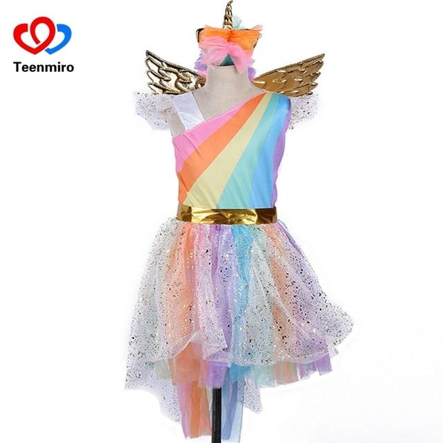 Детское платье с радужным единорогом для девочек; Карнавальный костюм для выпускного вечера; детские кружевные платья принцессы; комплект с юбкой-пачкой для вечеринки в честь Хэллоуина