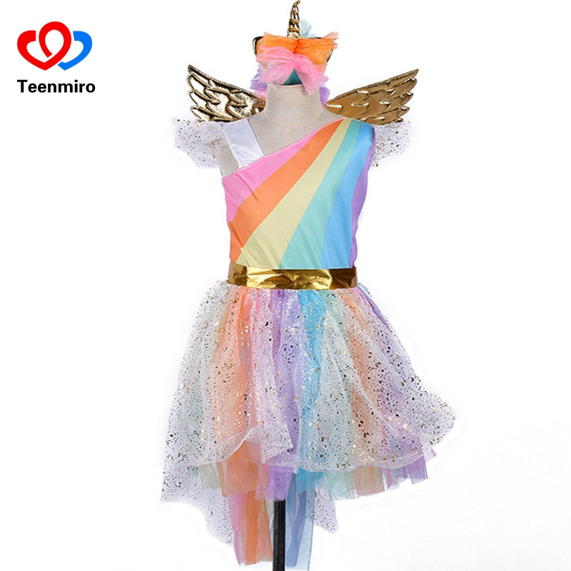 Kids Rainbow Unicorn Dress for Girls Cosplay Prom Costume Children Princess Lace Dresses Hair Hoop Wing Set Halloween Party Tutu